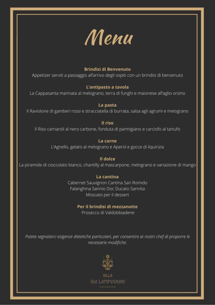 Capodanno in villa menu